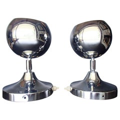 1970s Pair of Flexible Chrome Table Lamps or Wall Lights
