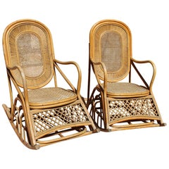 1970s Pair of French Bamboo, Rattan and Wicker Rocking Chairs