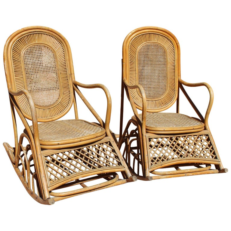 1970s Pair Of French Bamboo Rattan And Wicker Rocking Chairs At 1stdibs