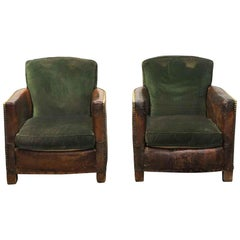 1970s Pair of French Brown Leather Club Chairs with Green Cushions and Rivets