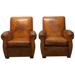 1970s Pair of French Leather Club Chairs