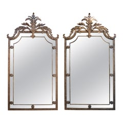 1970s Pair of French Mirrors with Ornamental Crest Iron Frame