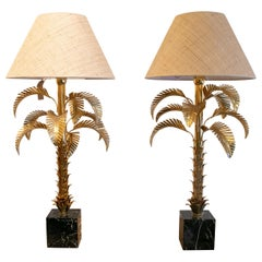 1970s Pair of French Palm Shaped Brass Table Lamps with Marble Base