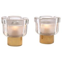 1970s Pair of German Glashütte Limburg Brass and Glass Flower Table Lamps