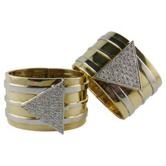 1970s Pair of Gold and Diamond Cuffs