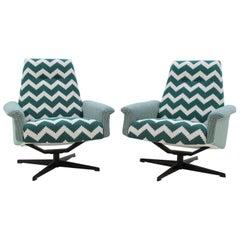 1970s Pair of Highback Swivel Chairs, Czechoslovakia