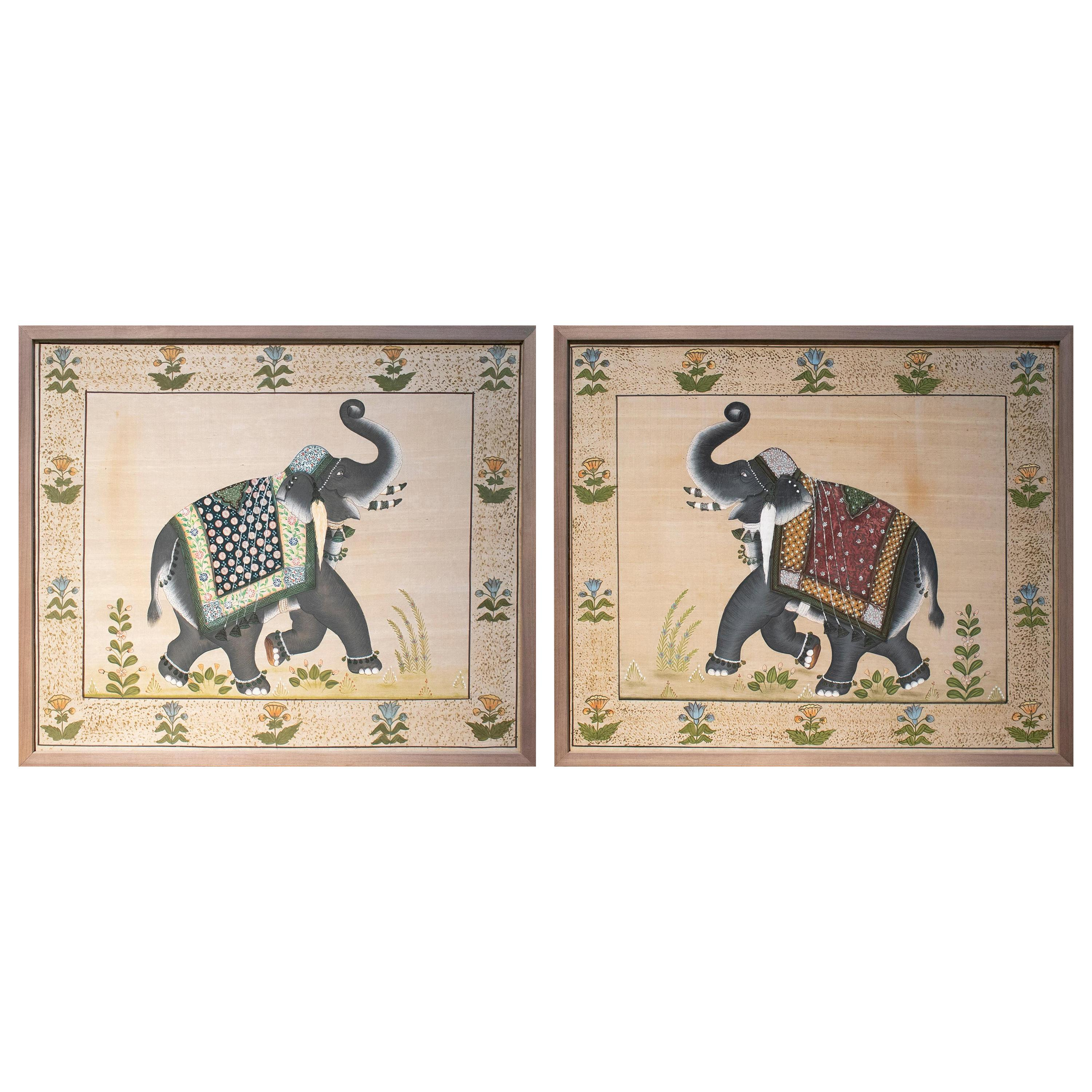 1970s Pair of Indian Elephant Paintings on Silk