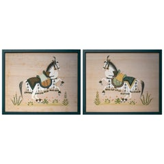 1970s Pair of Indian Horse Paintings on Silk