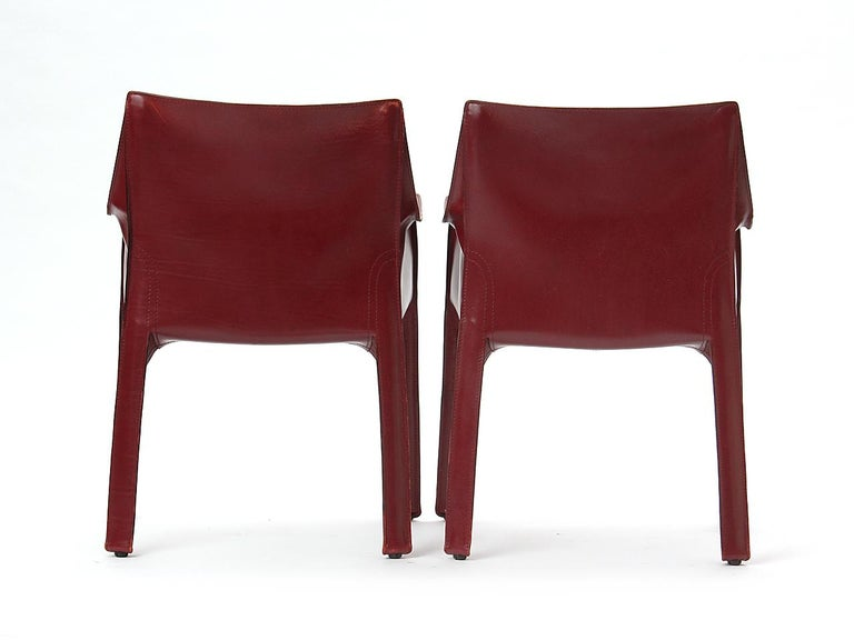 Late 20th Century 1970s Pair of Italian Cab Armchairs by Mario Bellini for Cassina For Sale