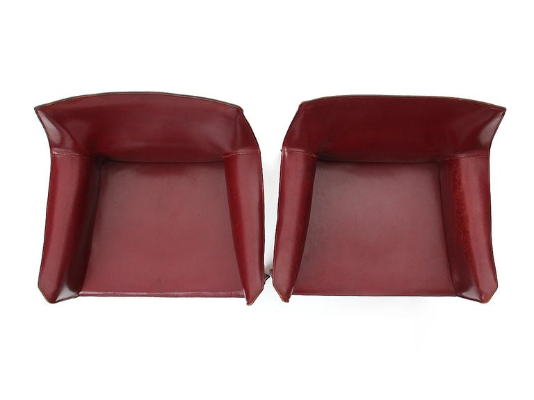 Steel 1970s Pair of Italian Cab Armchairs by Mario Bellini for Cassina For Sale
