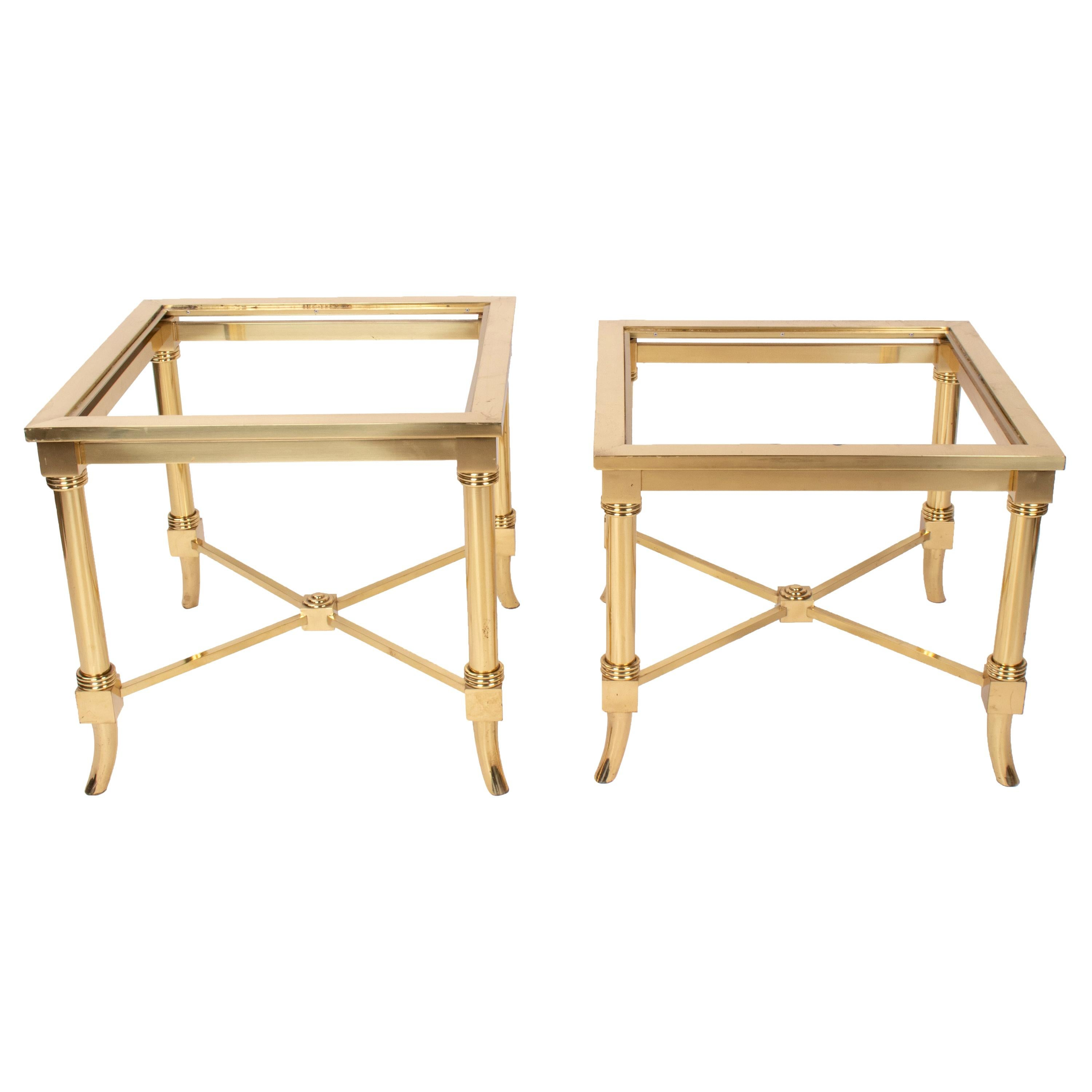 1970s Pair of Italian Designed Brass Side Tables