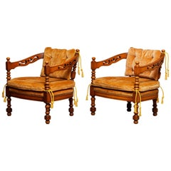 1970's, Pair of Italian Giorgetti Arm / Lounge Chairs of the Gallery Collection