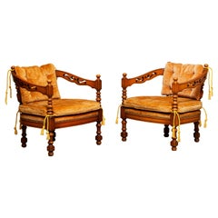 1970s, Pair of Italian Giorgetti Arm Lounge Chairs of the Gallery Collection