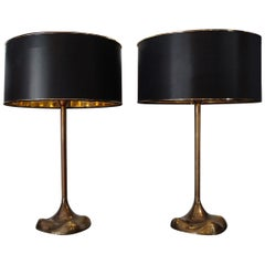 1970s Pair of Italian Table Lamps, Base in Cast Bronze and Bronzed Brass