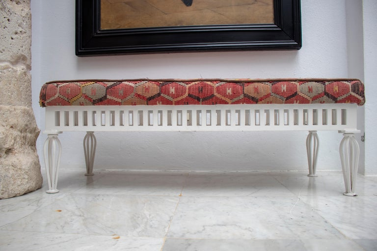 1970s Pair of Kilim Upholstered Iron Benches For Sale 5