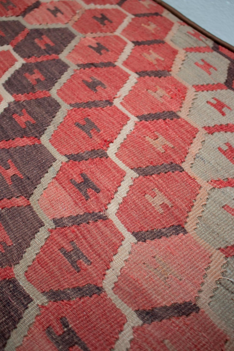 1970s Pair of Kilim Upholstered Iron Benches For Sale 7