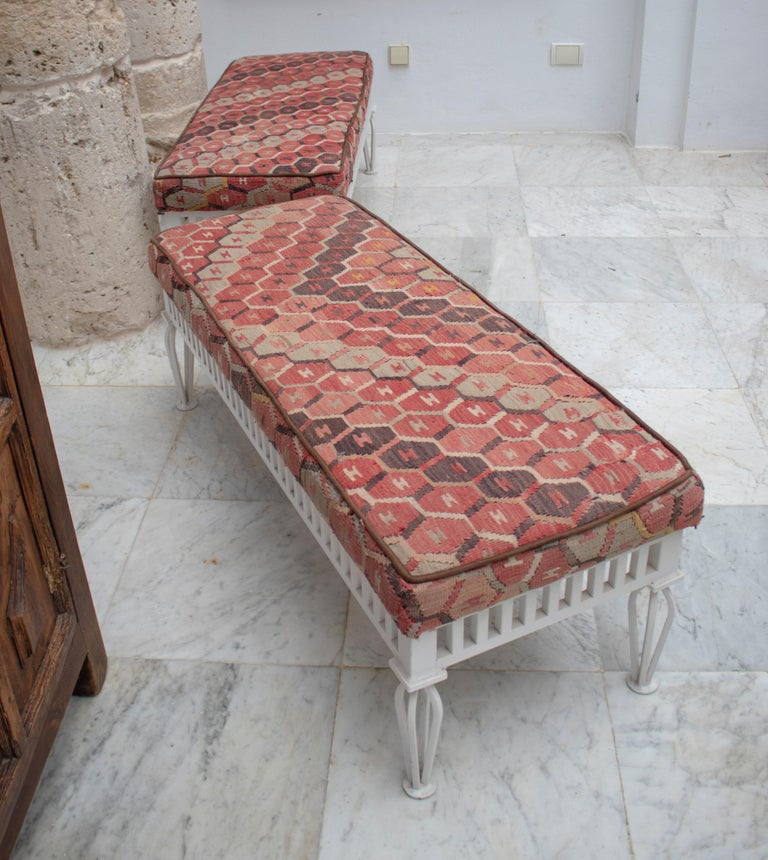 Spanish 1970s Pair of Kilim Upholstered Iron Benches For Sale