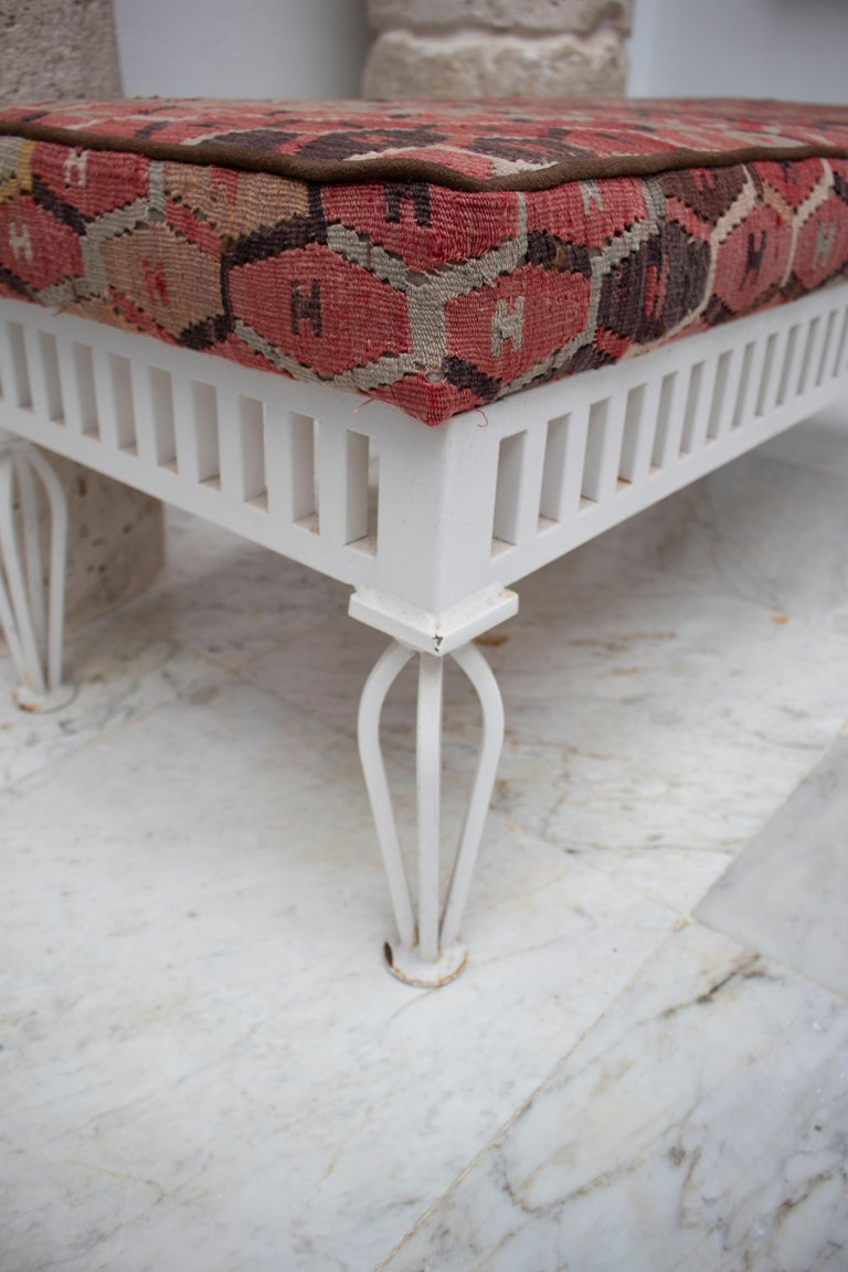 20th Century 1970s Pair of Kilim Upholstered Iron Benches For Sale
