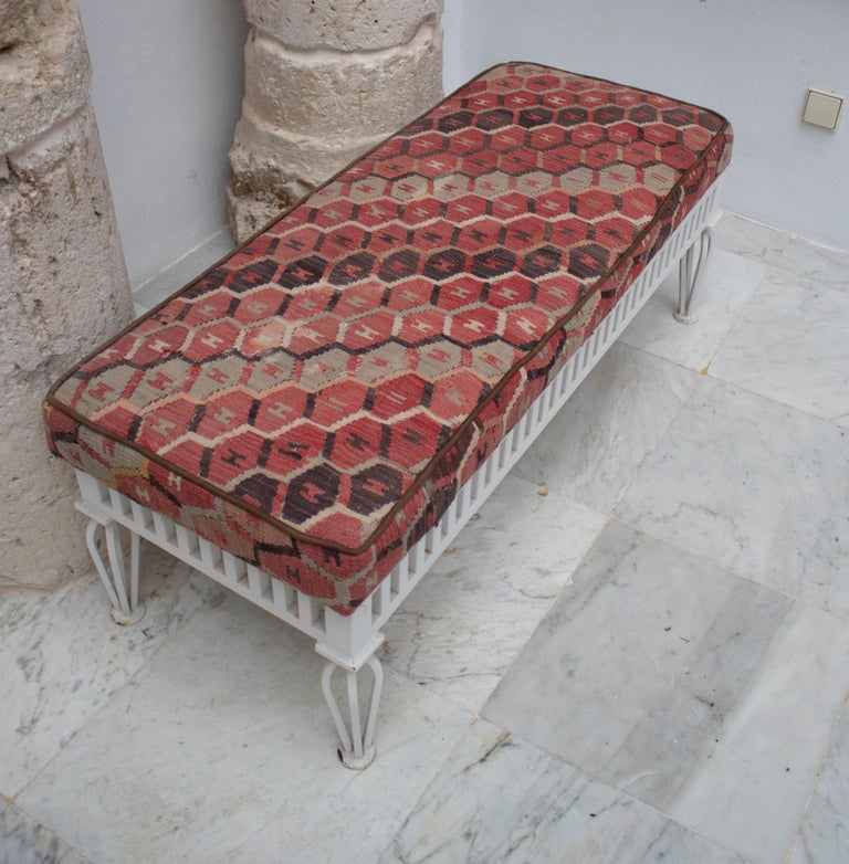 1970s Pair of Kilim Upholstered Iron Benches For Sale 1