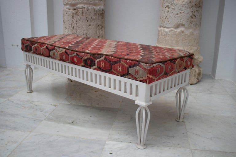 1970s Pair of Kilim Upholstered Iron Benches For Sale 2