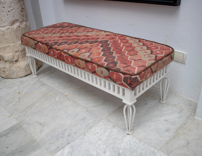 1970s Pair of Kilim Upholstered Iron Benches For Sale 3