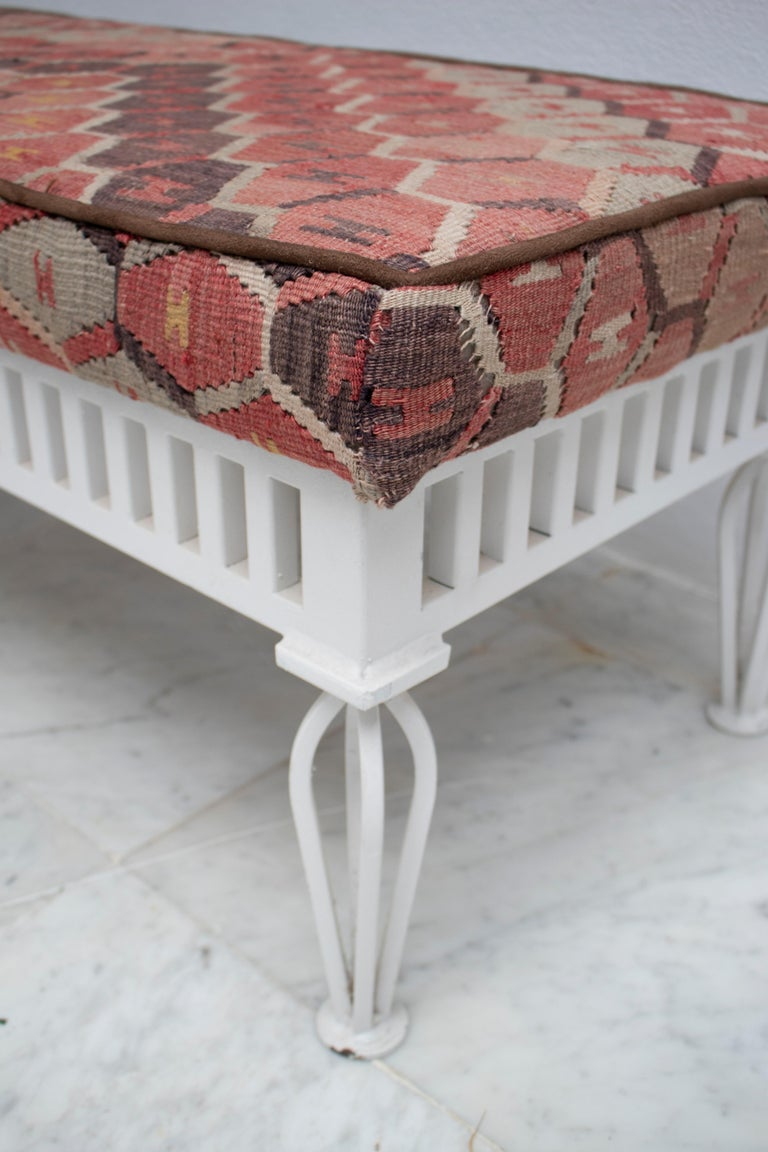 1970s Pair of Kilim Upholstered Iron Benches For Sale 4