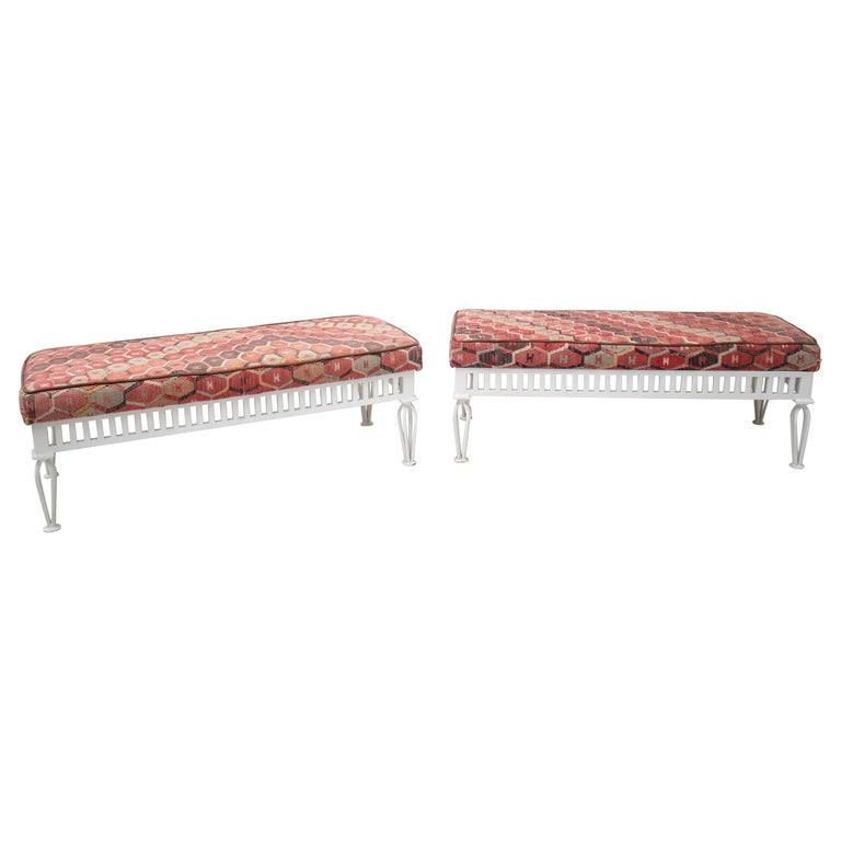 1970s Pair of Kilim Upholstered Iron Benches For Sale