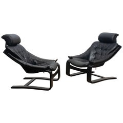 1970s, Pair of Kroken Lounge Chairs by Age Fribytter for Nelo Sweden in Leather