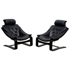 1970s, Pair of Kroken Lounge Chairs by Ake Fribytter for Nelo Sweden in Leather