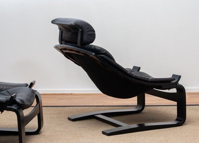 1970s, Pair of Kroken Lounge Chairs by Ake Fribytter for Nelo Sweden in Leather 4