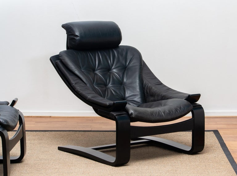 1970s, Pair of Kroken Lounge Chairs by Ake Fribytter for Nelo Sweden in Leather 5