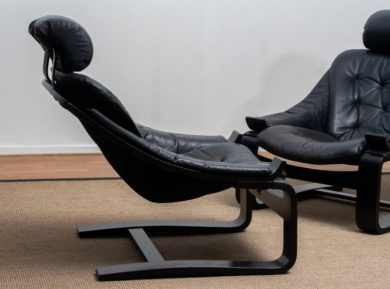 1970s, Pair of Kroken Lounge Chairs by Ake Fribytter for Nelo Sweden in Leather 6