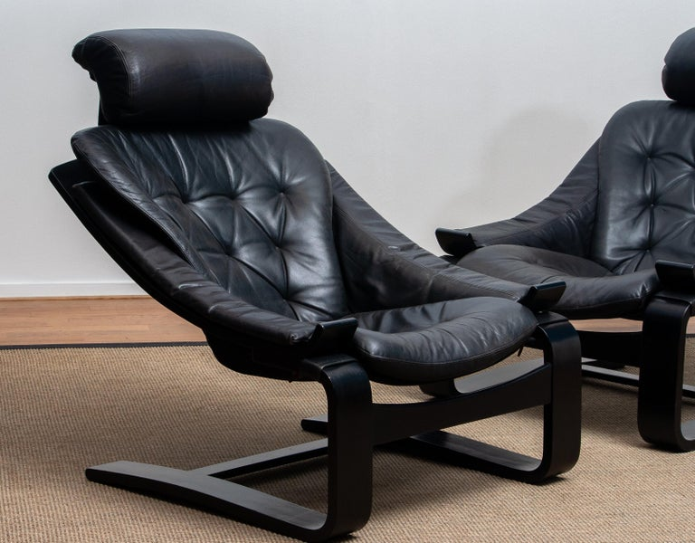 1970s, Pair of Kroken Lounge Chairs by Ake Fribytter for Nelo Sweden in Leather 7