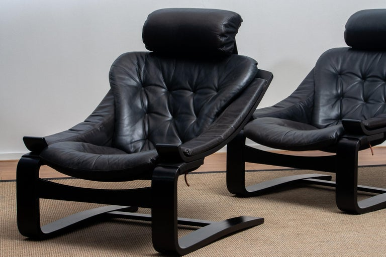 1970s, Pair of Kroken Lounge Chairs by Ake Fribytter for Nelo Sweden in Leather 8