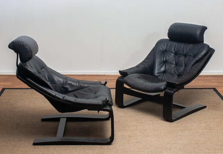 Scandinavian Modern 1970s, Pair of Kroken Lounge Chairs by Ake Fribytter for Nelo Sweden in Leather