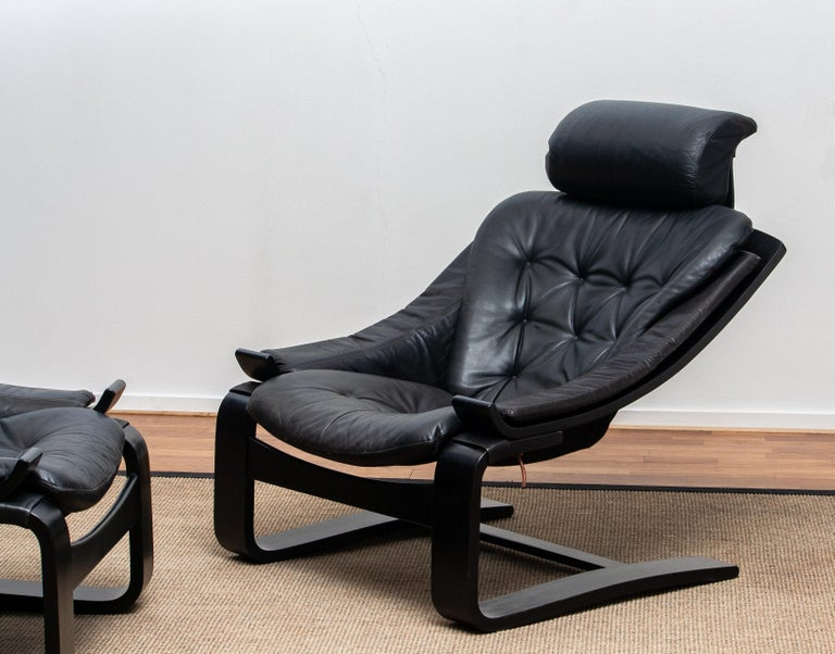 Swedish 1970s, Pair of Kroken Lounge Chairs by Ake Fribytter for Nelo Sweden in Leather