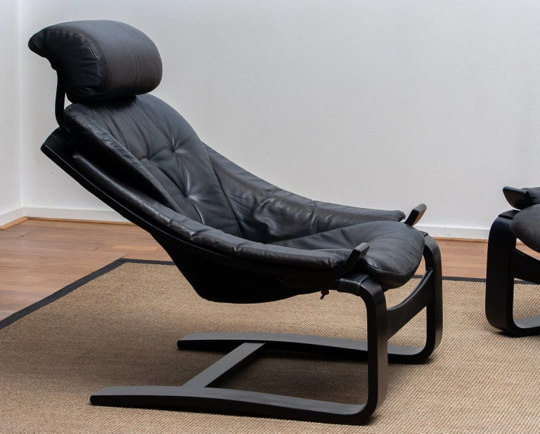 1970s, Pair of Kroken Lounge Chairs by Ake Fribytter for Nelo Sweden in Leather 1