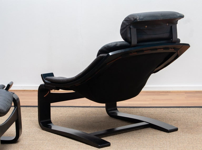1970s, Pair of Kroken Lounge Chairs by Ake Fribytter for Nelo Sweden in Leather 2