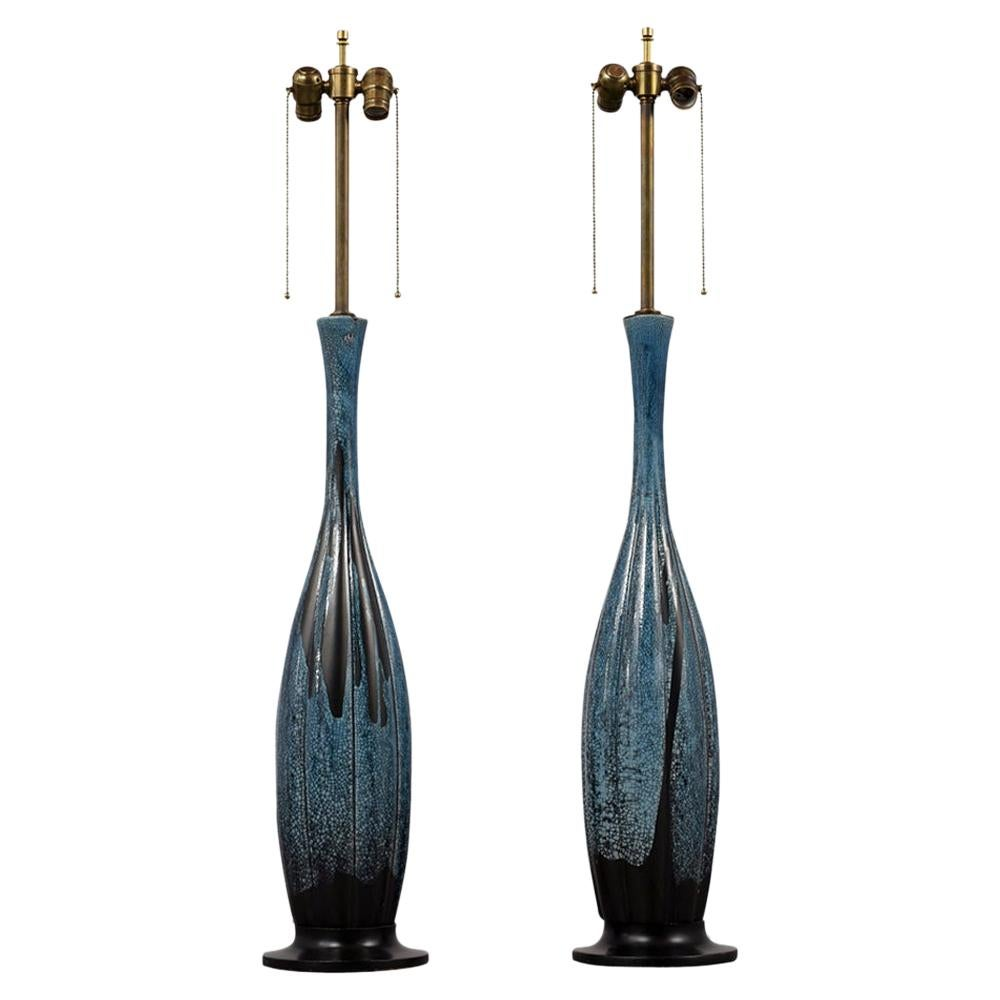1970s Pair of Large Glazed Table Lamps