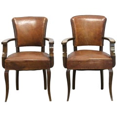 1970s Pair of Leather and Dark Tone Wood French Bridge Chairs with Studded Back