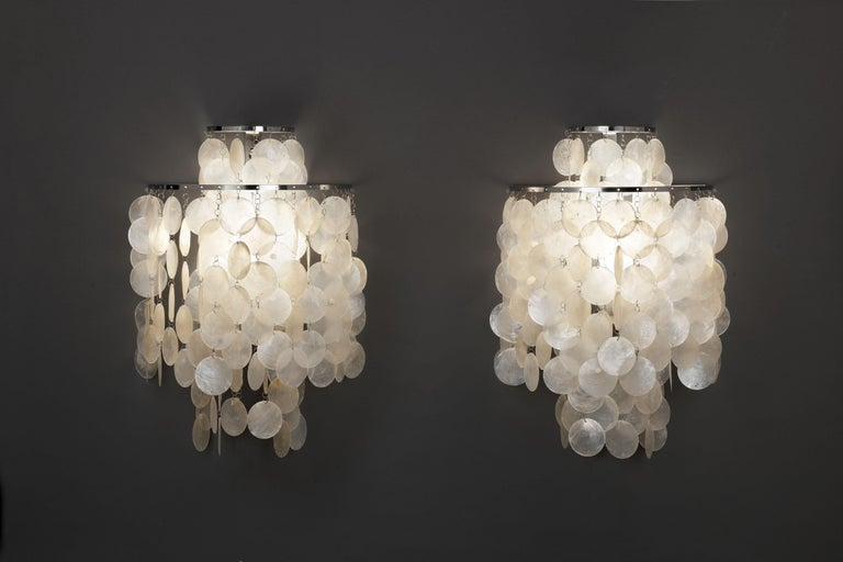 Pair of mother of pearl 'Fun 2WM' wall lamps, designed by Danish designer Verner Panton in 1964 part of a series of fixtures going by the name 'Fun'. All original 1970s production NOS (dead stock / never used ) by Swiss manufacturer J. Luber.
