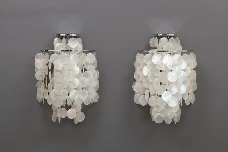 Scandinavian Modern 1970s Pair of Mother of Pearl 'Fun 2WM' Wall Lamps by Verner Panton, NOS For Sale