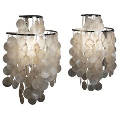 1970s Pair of Mother of Pearl 'Fun 2WM' Wall Lamps by Verner Panton, NOS
