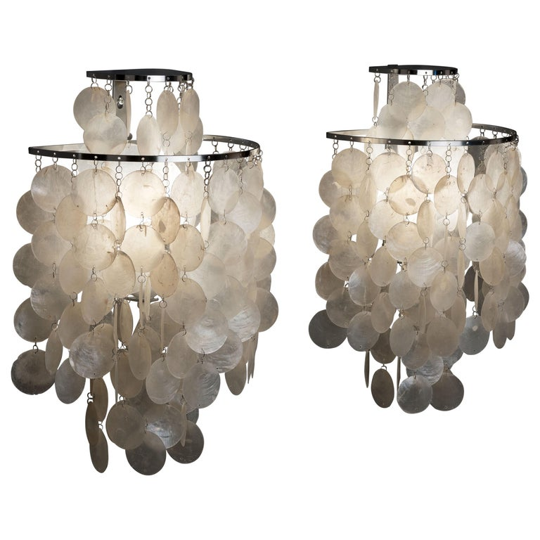 1970s Pair of Mother of Pearl 'Fun 2WM' Wall Lamps by Verner Panton, NOS For Sale