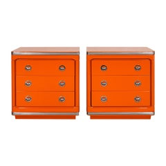 1970's Pair of Night Stands, Orange Lacquered Wood, Three Drawers, Barcelona