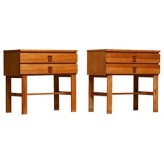 1970s, Pair of Nightstands or Bedside Tables in Pine by Sigurd Göransson, Sweden