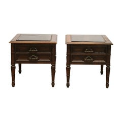 1970s Pair of Oak and Glass Dark Tone Side Tables with Drawers