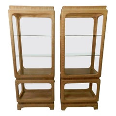 1970s Pair of Pencil Reed Bamboo Etagere Shelves