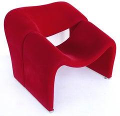"""1970s Paulin """"Groovy"""" Chair Model F598 in Red Velvet"""