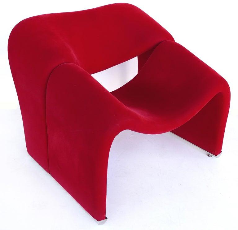 """1970s Paulin """"Groovy"""" Chair Model F598 in Red Velvet For Sale"""
